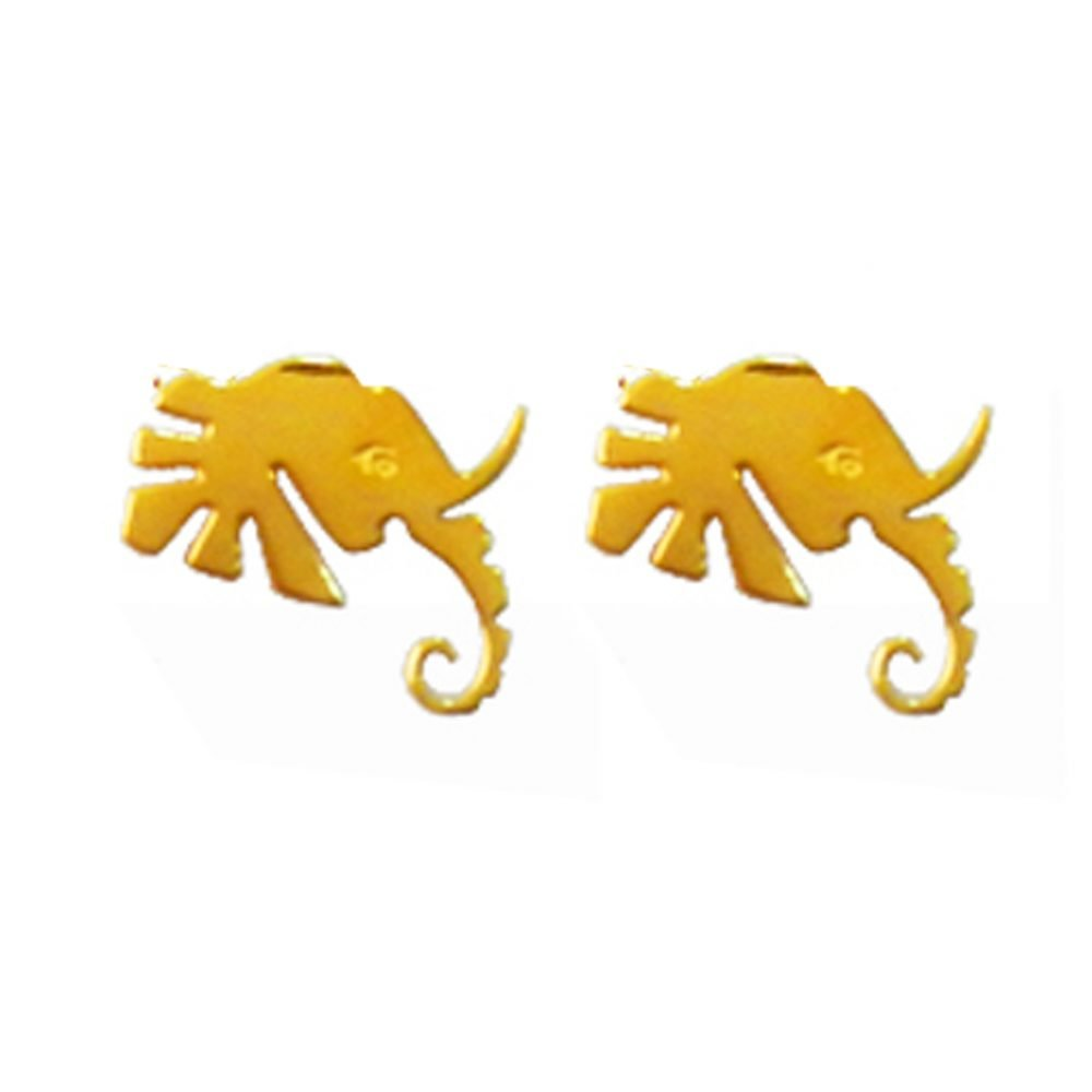 Elephant Head Gold Earrings