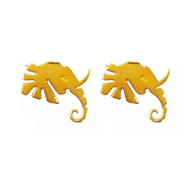 Elephant Head Gold Earrings