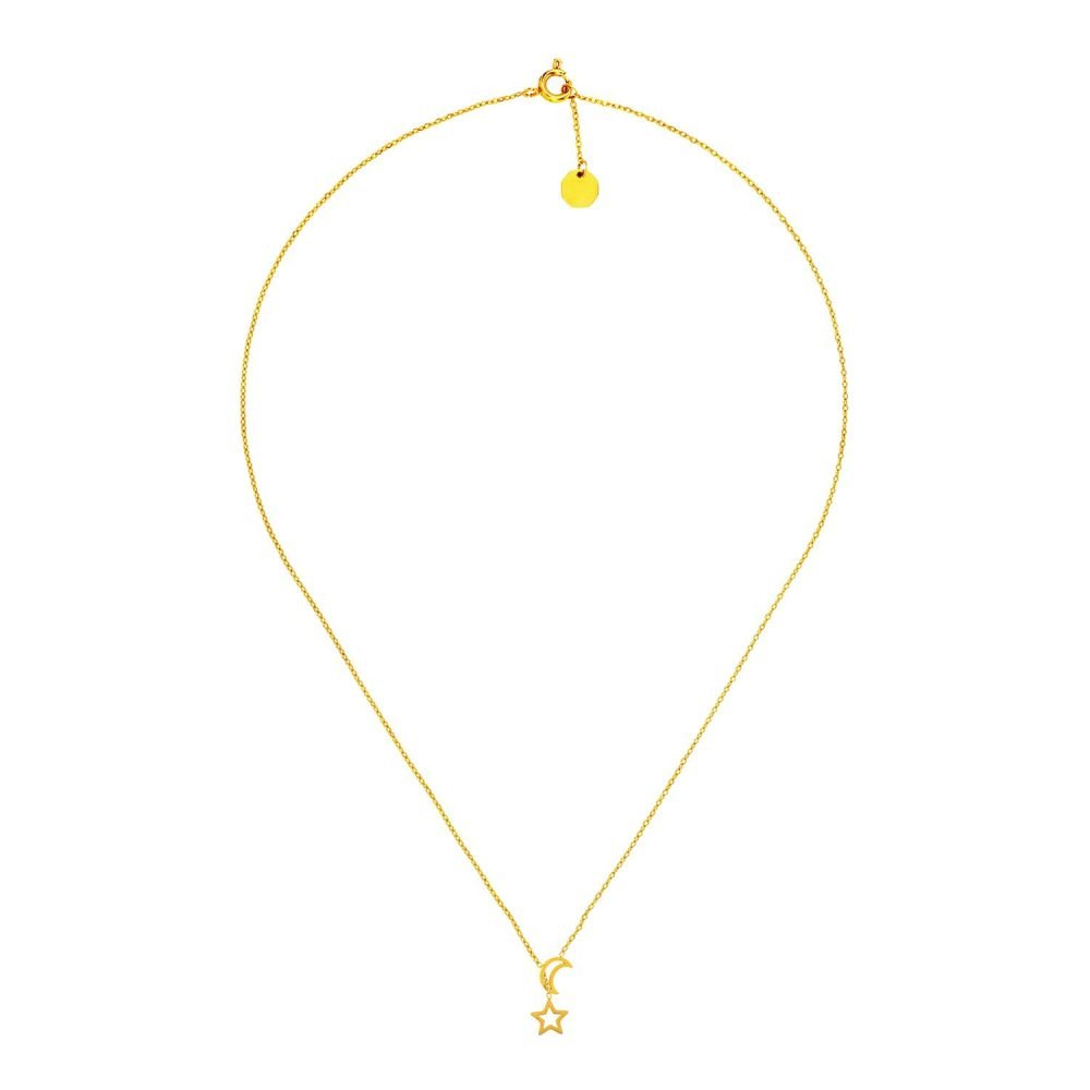 Moon & Stars Necklace Gold