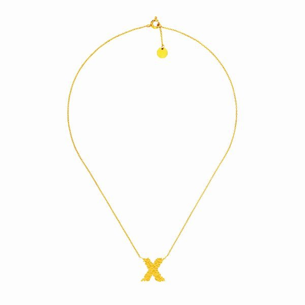 X Necklace Gold